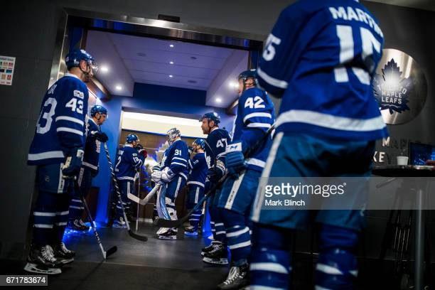 Frederik Andersen of the Toronto Maple Leafs stands in the hallway prior to playing the Washington Capitals in Game Four of the Eastern Conference...