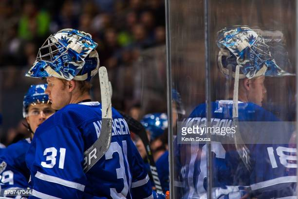Frederik Andersen of the Toronto Maple Leafs stands near the bench at an NHL game against the New Jersey Devils during the first period at the Air...