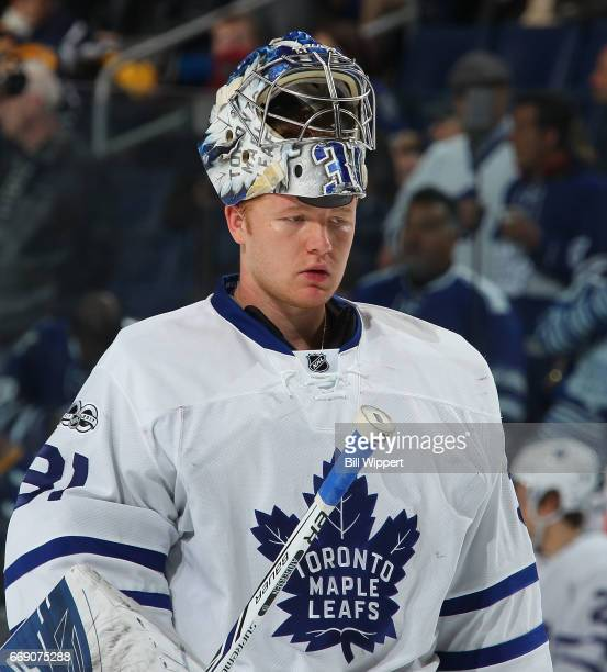Frederik Andersen of the Toronto Maple Leafs takes a break against the Buffalo Sabres during an NHL game at the KeyBank Center on April 3 2017 in...
