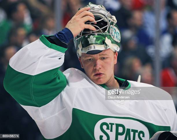 Frederik Andersen of the Toronto Maple Leafs takes a breather against the Chicago Blackhawks during an NHL game at the Air Canada Centre on March 18...