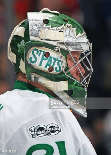 Frederik Andersen of the Toronto Maple Leafs waits for play to resume against the Chicago Blackhawks during an NHL game at the Air Canada Centre on...
