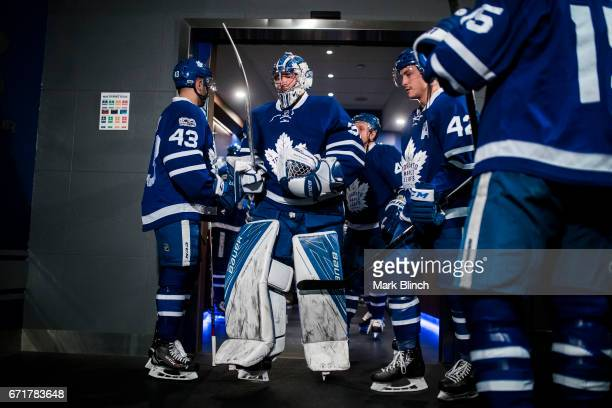 Frederik Andersen of the Toronto Maple Leafs walks to the ice prior to playing the Washington Capitals in Game Four of the Eastern Conference First...