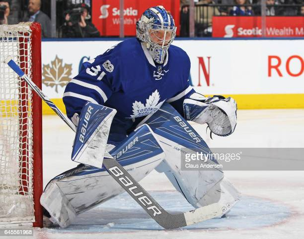 Frederik Andersen of the Toronto Maple Leafs watches for an incoming shot against the Montreal Canadiens during an NHL game at the Air Canada Centre...