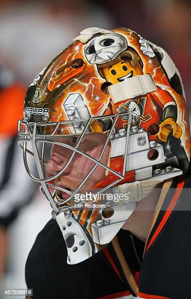 Frederik Anderson of the Anaheim Ducks looks on against the Philadelphia Flyers on October 14 2014 at the Wells Fargo Center in Philadelphia...