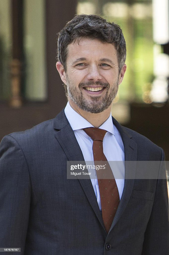 Frederik André Henrik Christian de Glücksburg crown prince of Denmark, gestures during the welcome ceremony at Los Pinos official recidence on November 11, 2013 in Mexico City, Mexico.