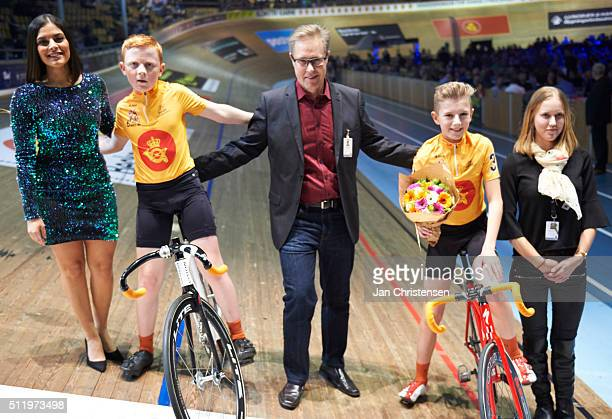 Frederik B Sorensen and Oliver B Sondergaard celebrate after Day six at the Copenhagen Six Days Cycling Race at Ballerup Super Arena on February 09...