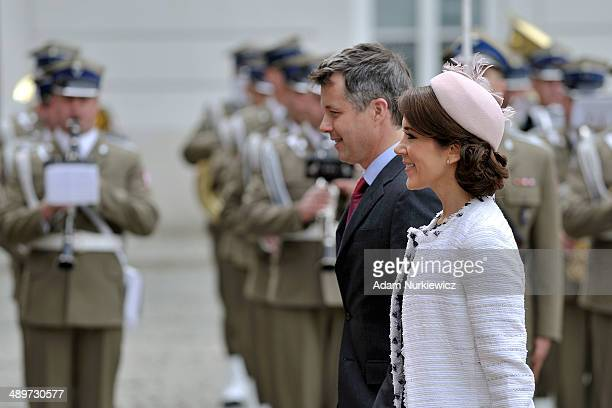 Frederik Crown Prince of Denmark and his wife Crown Princess Mary arrive to the Polish Presidential Palace at on May 12 2014 in Warsaw Poland