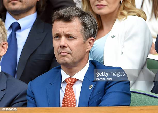 Frederik Crown Prince of Denmark attends day eight of the Wimbledon Tennis Championships at Wimbledon on July 7 2015 in London England