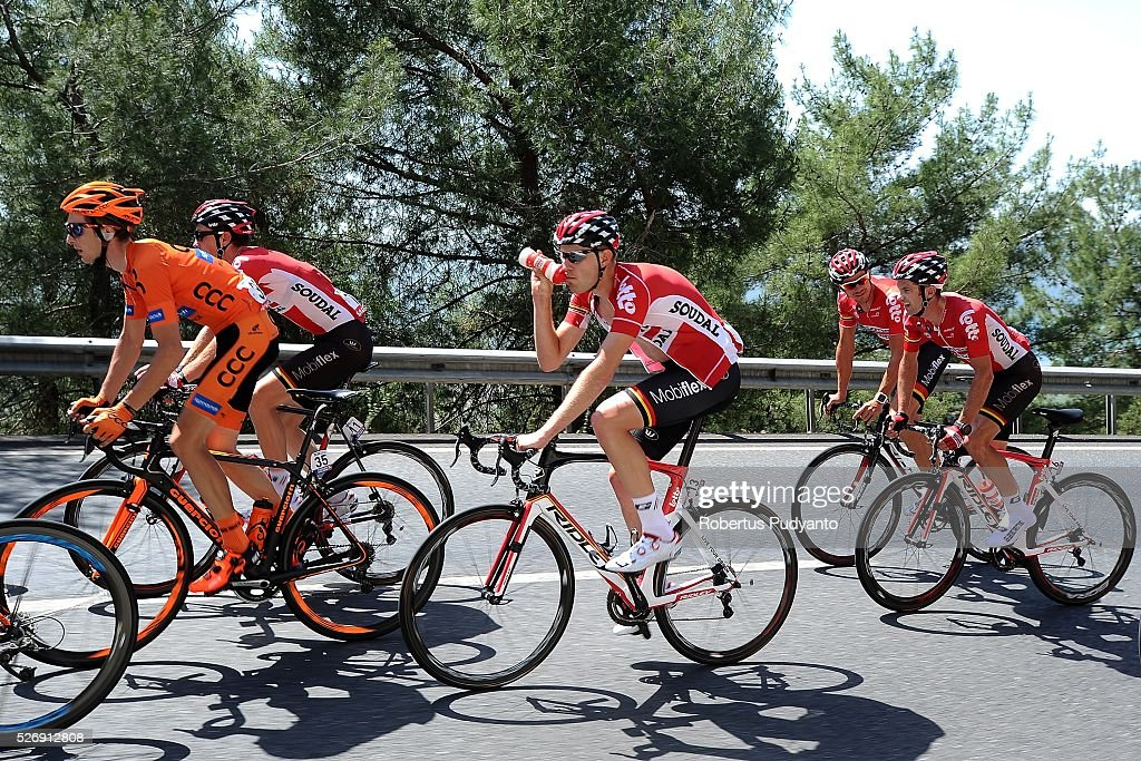 Frederik Frison of Belgium and Lotto Soudal #13 drinks during Stage 8 of the 2016 Tour of Turkey, Marmaris to Selcuk (201.5 km) on May 1, 2016 in Marmaris, Turkey.