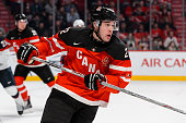 Frederik Gauthier of Team Canada skates in a preliminary round game at the 2015 IIHF World Junior Hockey Championships against Team United States at...