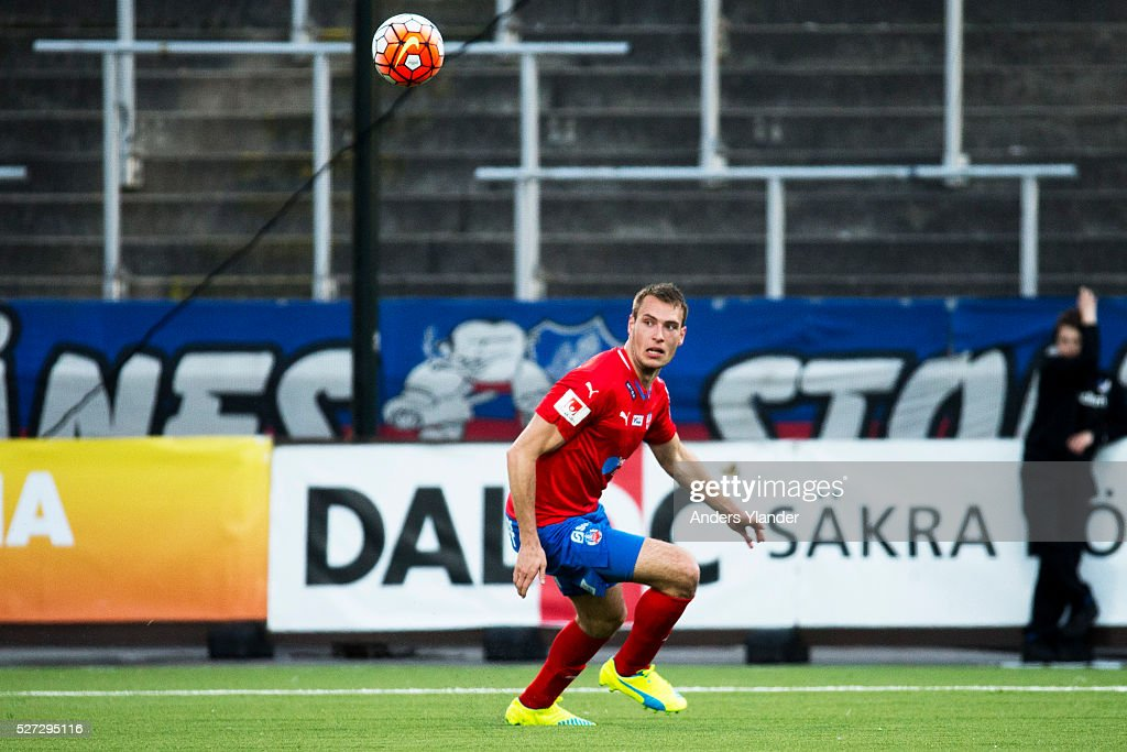 Frederik Helstrup Jensen of Helsingborgs IF controls the ball during the Allsvenskan match between IFK Norrkoping and Helsingborgs IF at Ostgotaporten on May 2, 2016 in Norrkoping, Sweden.