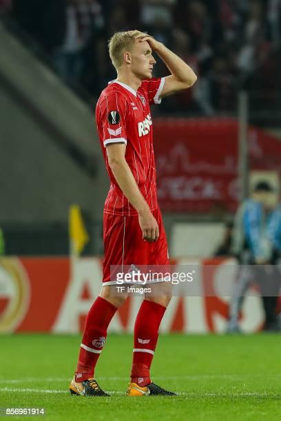 Frederik Hillesborg Sorensen of Koeln looks dejected during the UEFA Europa League group H match between 1 FC Koeln and Crvena Zvezda at...