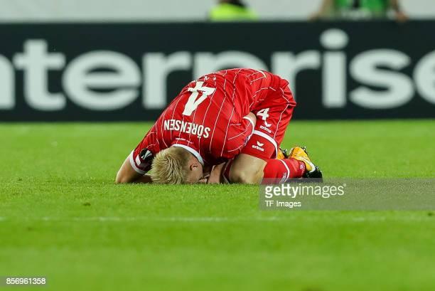 Frederik Hillesborg Sorensen of Koeln on the groundduring the UEFA Europa League group H match between 1 FC Koeln and Crvena Zvezda at...