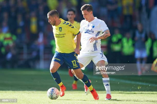 Frederik Holst of Brondby IF and Benjamin Verbic of FC Copenhagen compete for the ball during the Danish Cup Final DBU Pokalen match between FC...