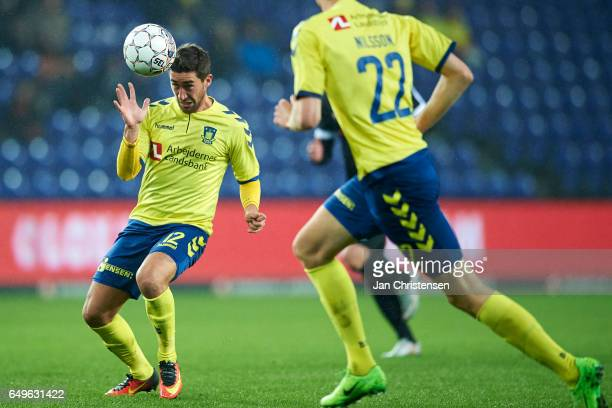 Frederik Holst of Brondby IF in action during the Danish Cup DBU Pokalen match between BK Marienlyst and Brondby IF at Brondby Stadion on March 08...