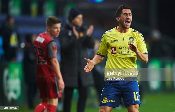 Frederik Holst of Brondby IF shows frustration during the Danish Alka Superliga match between Brondby IF and FC Nordsjalland at Brondby Stadion on...