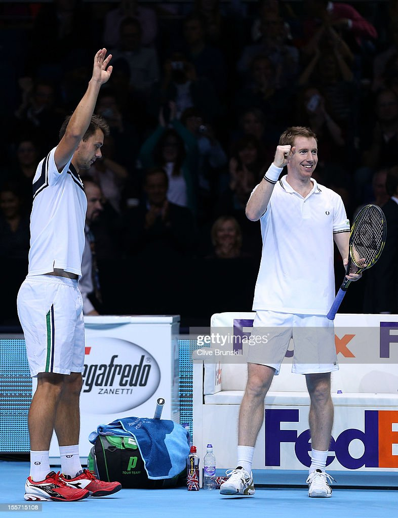 Frederik Nielsen of Denmark and Jonathan Marray of Great Britain celebrate their victory during the men's doubles match against Max Mirnyi of Belarus...