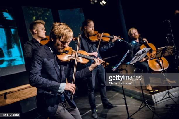 Frederik Oland Rune Tonsgard Sorensen Asbjorn Noorgard and Frederik Sjoelin of Danish String Quartett perform live on stage during Yellow Lounge x...