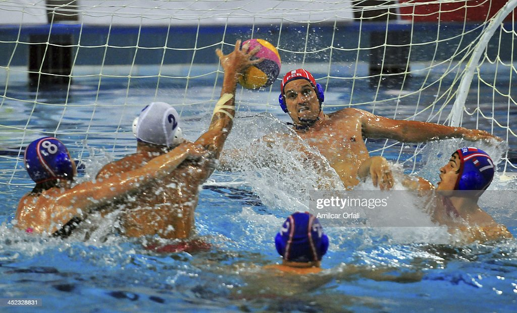 Frederik Paternoster of Peru during a match between Peru and Venezuela as part of the XVII Bolivarian Games Trujillo 2013 at Campo de Marte on November 27, 2013 in Lima, Peru.