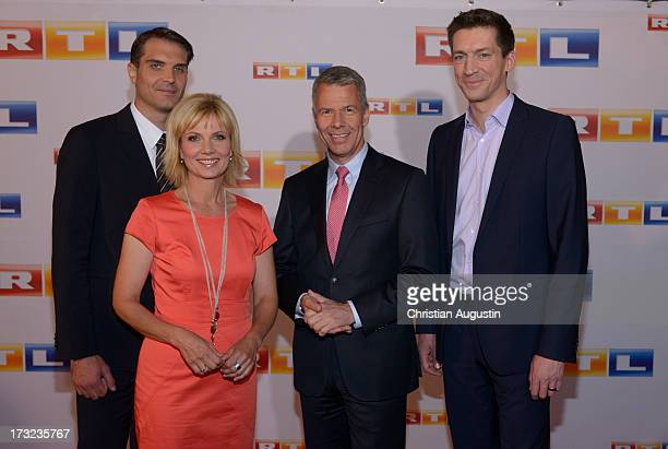 Frederik Pleitgen Ilka Essmueller Peter Kloeppel and Steffen Halaschka attend photocall of RTL new program presentation at Hotel Atlantic on July 10...