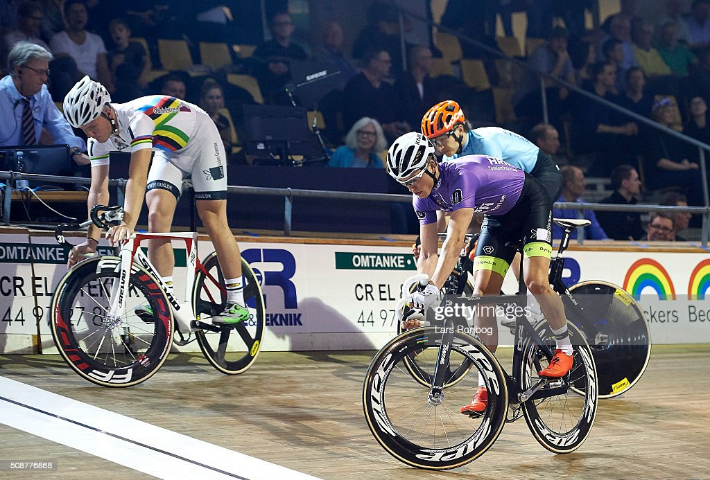 Frederik Schwartz of Denmark in action in the Longest lap during day three at the Copenhagen Six Days Race Cycling at Ballerup Super Arena on February 6, 2016 in Ballerup, Denmark.