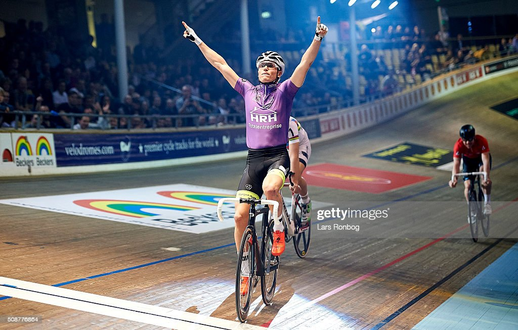 Frederik Schwartz of Denmark wins the Longest lap during day three at the Copenhagen Six Days Race Cycling at Ballerup Super Arena on February 6, 2016 in Ballerup, Denmark.