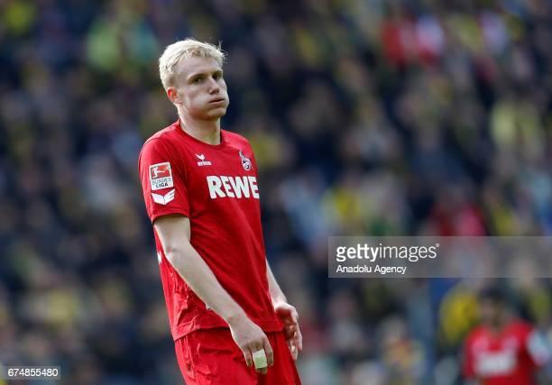 Frederik Sorensen of 1FC Cologne gestures during the Bundesliga match between Borussia Dortmund and FC Koeln at Signal Iduna Park in Dortmund on...