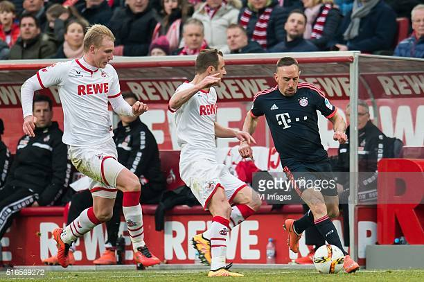 Frederik Sorensen of 1FC Koln Matthias Lehmann of 1FC Koln Franck Ribery of Bayern Munich during the Bundesliga match between 1 FC Koln and FC Bayern...