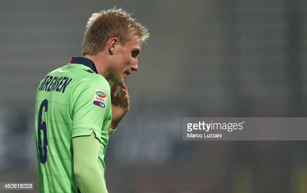 Frederik Sorensen of Bologna FC walks off after getting a red card during the Serie A match between Parma FC and Bologna FC at Stadio Ennio Tardini...