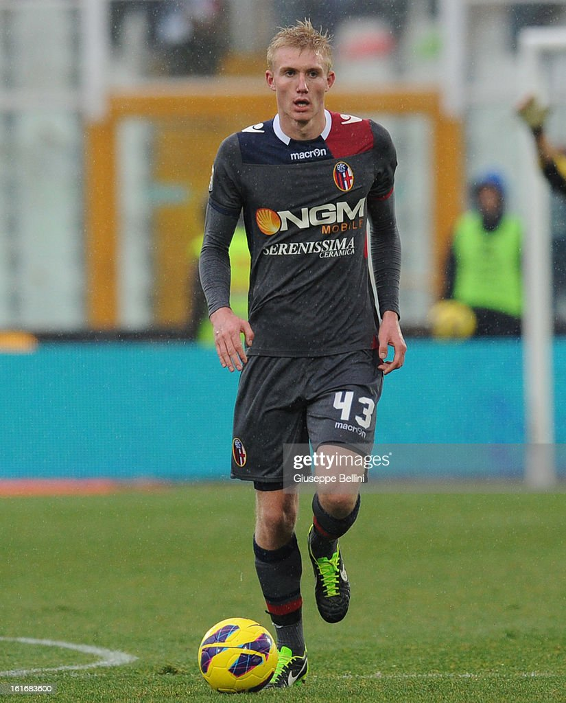 Frederik Sorensen of Bologna in action during the Serie A match between Pescara and Bologna FC at Adriatico Stadium on February 3, 2013 in Pescara, Italy.