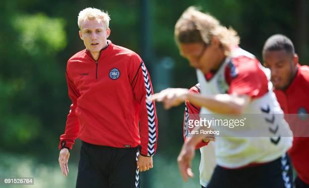 Frederik Sorensen watching the Denmark training session at Brondby Stadion on June 2 2017 in Brondby Denmark