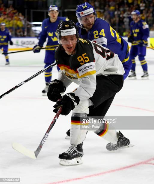 Frederik Tiffels of Germany skates against Sweden during the 2017 IIHF Ice Hockey World Championship game between Germany and Sweden at Lanxess Arena...