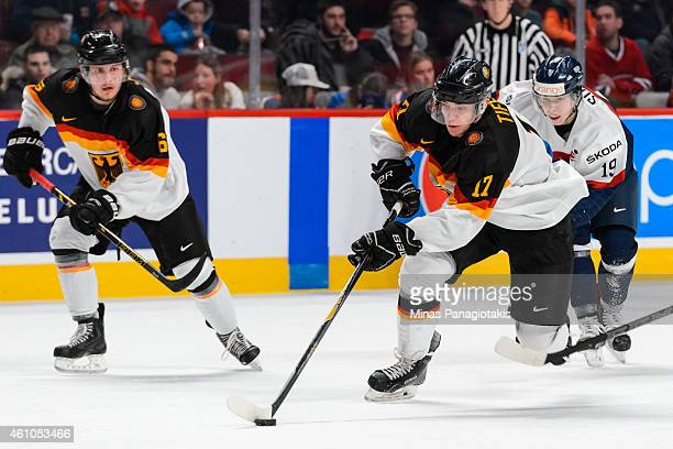 Frederik Tiffels of Team Germany carries the puck during the 2015 IIHF World Junior Hockey Championship game against Team Slovakia at the Bell Centre...