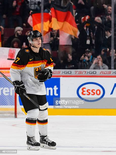 Frederik Tiffels of Team Germany skates towards the team bench after scoring a goal on a penalty shot during the 2015 IIHF World Junior Hockey...
