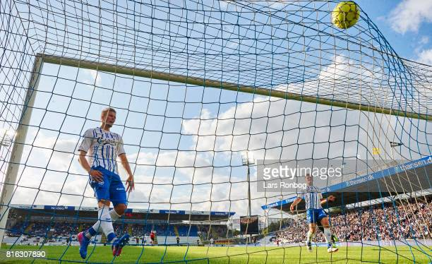 Frederik Tingager of OB Odense can see that Ernest Asante scores the 10 goal during of FC Nordsjalland the Danish Alka Superliga match between OB...