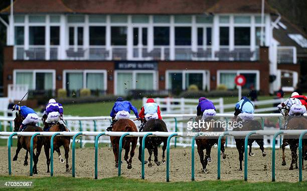Frederik Tylicki riding Barbary win The 32Red On The App Store Handicap Stakes at Lingfield racecourse on February 19 2014 in Lingfield England