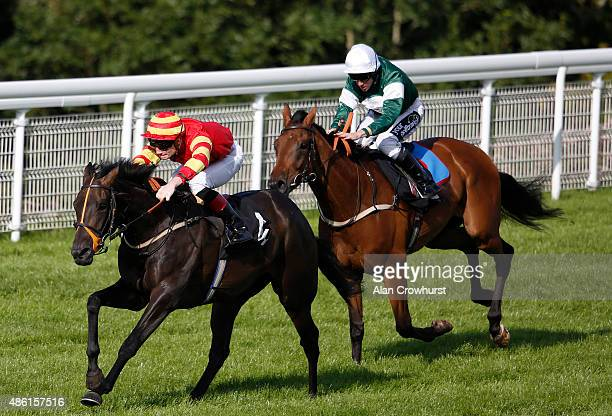 Frederik Tylicki riding Gale Force win The Royal Sussex Regiment Stakes at Goodwood racecourse on September 01 2015 in Chichester England