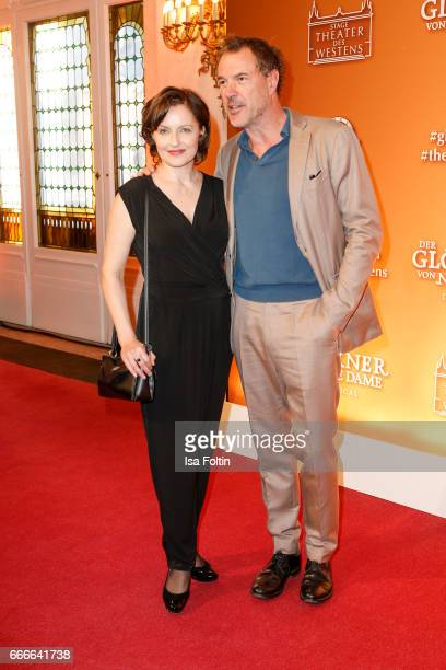 Frederike Haas and German actor Sebastian Koch attend the premiere of the musical 'Der Gloeckner von Notre Dame' on April 9 2017 in Berlin Germany