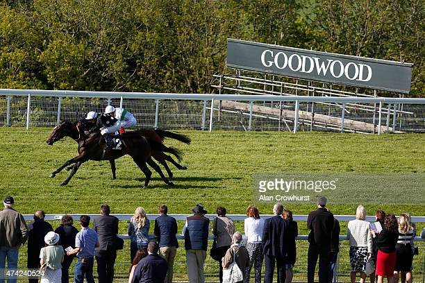 Frederil Tylicki riding Speedy Boarding win The Breeders Backing Racing EBF Maidne Fillies' Stakes from Journey at Goodwood racecourse on May 21 2015...