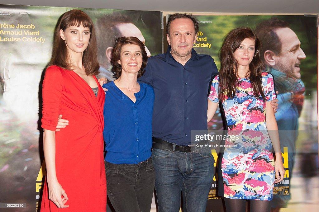 Frederique Bel, Irene Jacob, Arnaud Viard and Louise Coldefy attend the 'Arnaud Fait Son 2eme Film' Paris Premiere At Cinema UGC Les Halles on March 31, 2015 in Paris, France.