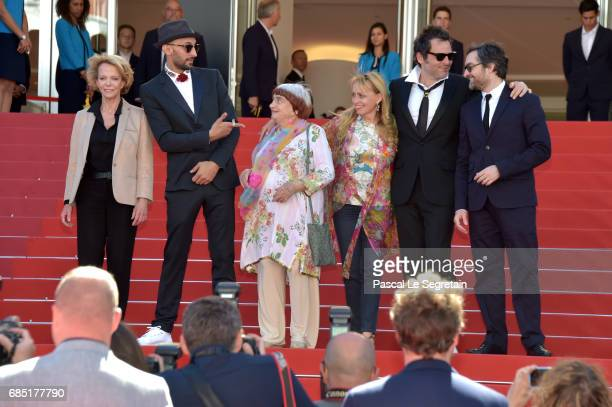 Frederique Bredin directors JR Agnes Varda composer Matthieu Chedid and members of the cast pose as they attend attends the 'Faces Places ' screening...