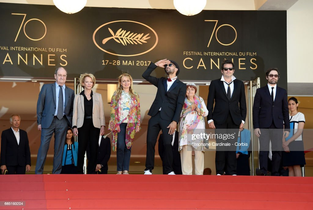 Frederique Bredin (L), Directors JR, Agnes Varda, composer Matthieu Chedid and members of the cast attend the 'Faces, Places (Visages, Villages)' screening during the 70th annual Cannes Film Festival at Palais des Festivals on May 19, 2017 in Cannes, France.
