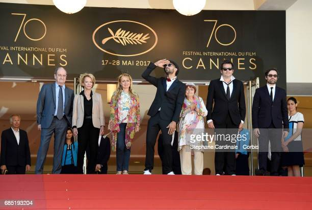 Frederique Bredin Directors JR Agnes Varda composer Matthieu Chedid and members of the cast attend the 'Faces Places ' screening during the 70th...
