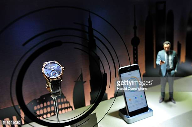 Frederique Constant Horological Smartwatch is displayed during Baselworld on March 16 2016 in Basel Switzerland Held annually Baselworld is the most...