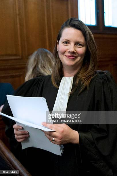 Frederique Giffard lawyer of Valerie Trierweiler French president's partner prepares before the start of the trial of French television journalists...