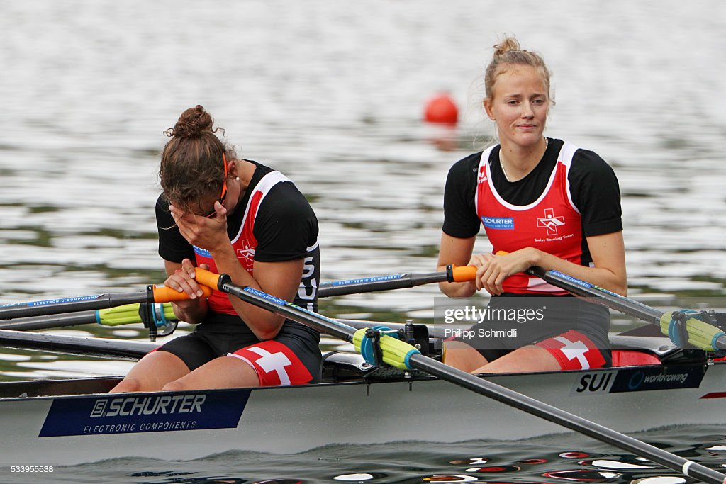 Frederique Rol (R) and Patricia Merz of Switzerland look dejected after missing the qualification for the 2016 Summer Olympic Games in Rio during Day 3 of the 2016 FISA European And Final Olympic Qualification Regatta at Rotsee on May 24, 2016 in Lucerne, Switzerland.