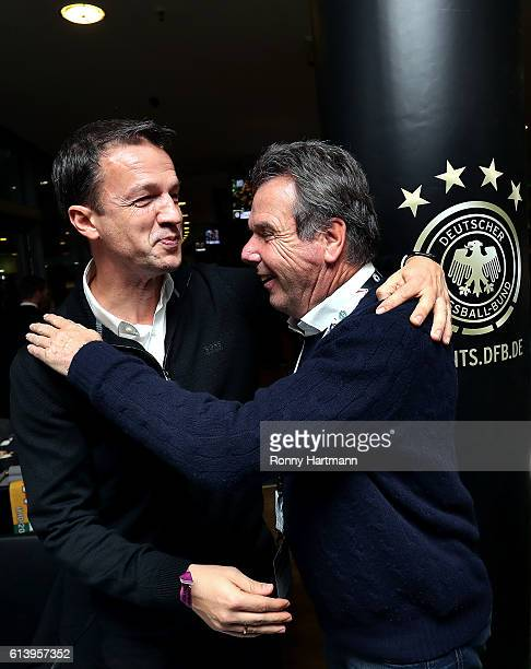 Fredi Bobic and Heribert Bruchhagen attend the Club Of Former National Players Meeting during the FIFA 2018 World Cup Qualifier between Germany and...