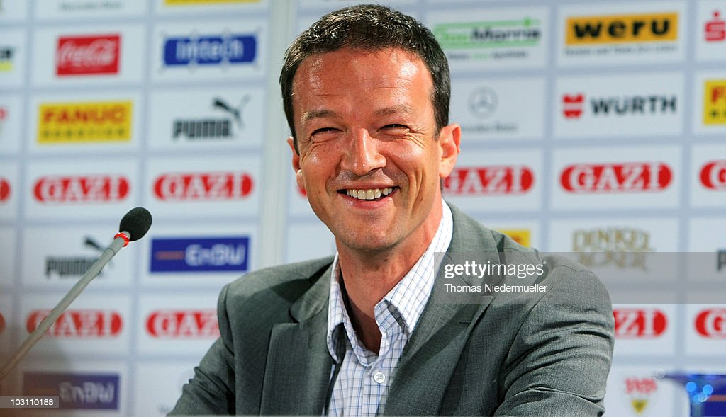 Fredi Bobic attends a press conference to present him as the new sports director of the VfB Stuttgart at the Mercedes Arena on July 27 2010 in...