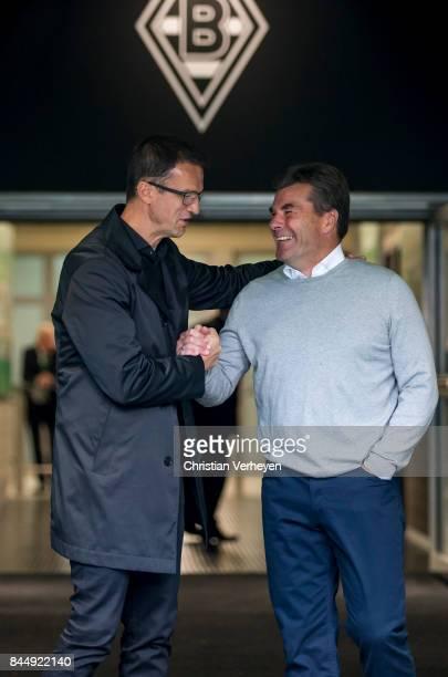 Fredi Bobic of Eintracht Frabkfurt and Lars Stindl of Borussia Moenchengladbach ahead the Bundesliga match between Borussia Moenchengladbach and...