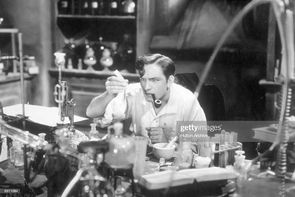 Fredric March plays Dr Jekyll about to drink the potion for the first time in a screen adaptation of the Robert Louis Stevenson book 'Doctor Jekyll...